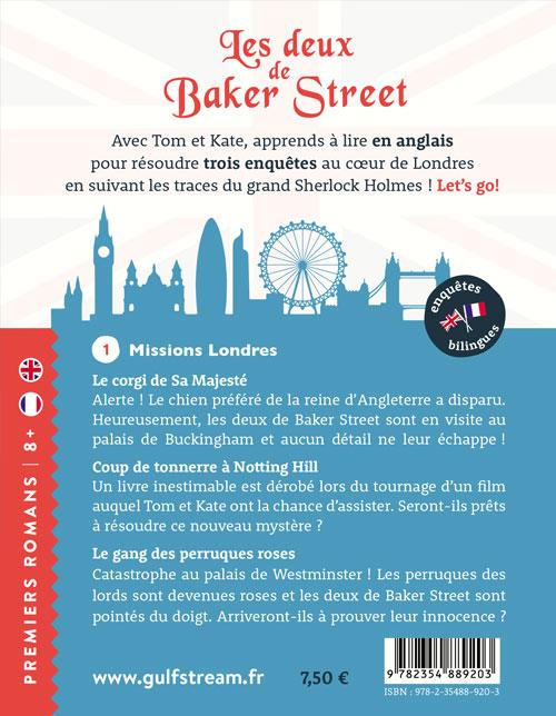 Quatrième couverture roman jeunesse 8+ bilingue Les deux de Baker street tome 1
